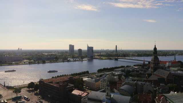 Riga, view of the city buildings, and the Daugava river.