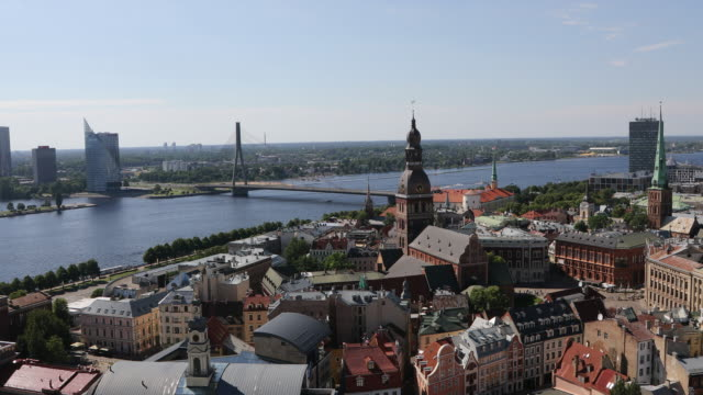 Riga, views of the city from high point.