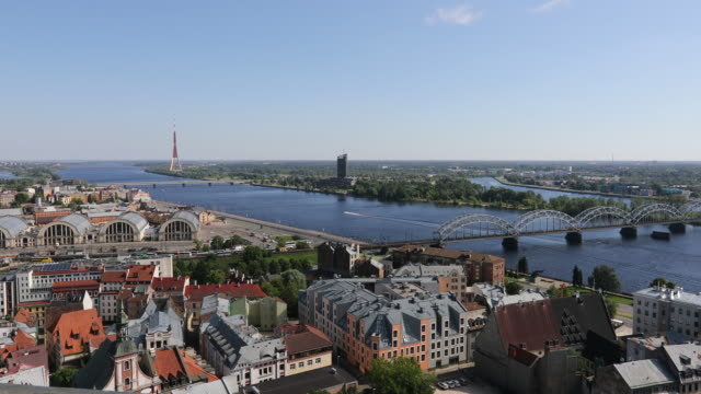 Riga, views of the city with transportation in the Daugava river.