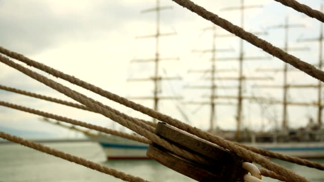 stockvideo's en b-roll-footage met rigging of an old sailing ship - mast