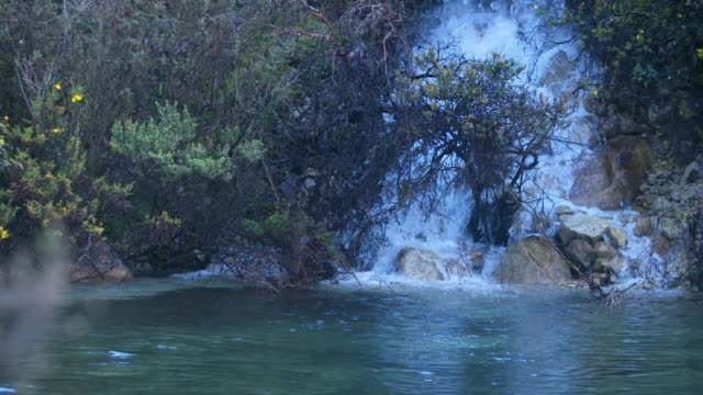 Right high speed pan of wild waterfall