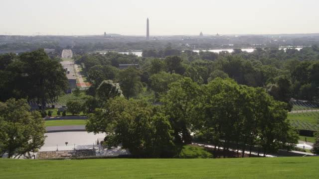 Right pan from JFK gravesite to vista of Arlington National Cemetery with Washington DC in background. Shot in May 2012.