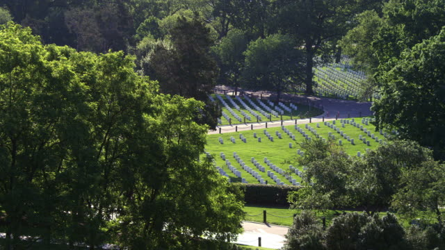 Right pan over graves in Arlington National Cemetery, seen from Arlington House. Shot in May 2012.