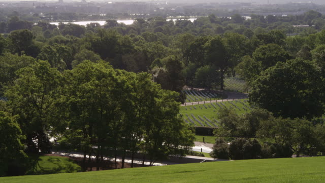 Right pan over vista of Arlington National Cemetery from Arlington House. Shot in May 2012.