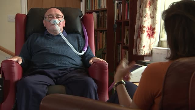 New challenge to assisted dying ban Close shot of Noel Conway wearing nasal mask Noel Conway setup shot with reporter / interview SOT Various shots...