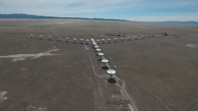 Right to Left rise VLA - Drone Aerial 4K New Mexico, Very large array antenna communication tower, Many large satellite dish, discovering science and a search for alien life 4K Nature/Wildlife/Weather Drone Aerial View