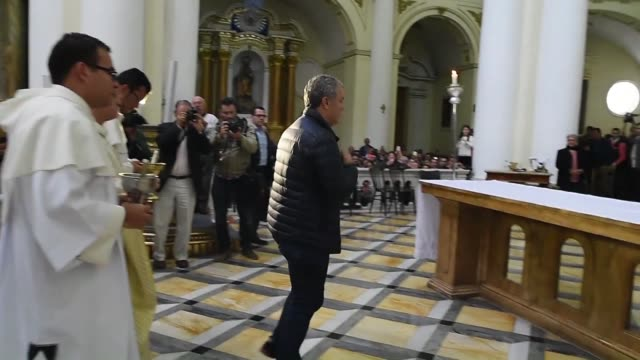 Right wing candidate Ivan Duque attends a mass at the Chiquinquira Basilica home to the image of the Virgin of Chiquinquira Colombia's patron saint...