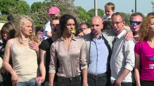 lgbt rights activists lauded the french protestant church's decision to give its vicars the possibility to bless gay marriages at an anti homophobia... - homophobia stock videos and b-roll footage