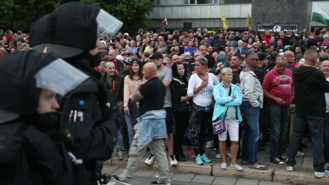 Rightwing supporters attend a protest gathering the day after a man was stabbed and died of his injuries on August 27 2018 in Chemnitz Germany A...