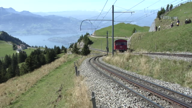 rigi railways with a view of lake lucerne - lake lucerne stock videos & royalty-free footage
