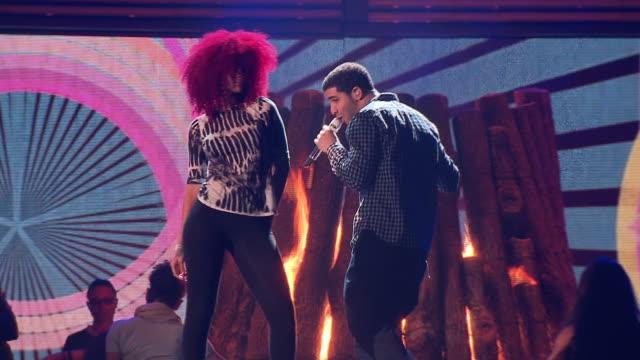 Rihanna and Drake rehearsing at the 2011 Grammy Awards