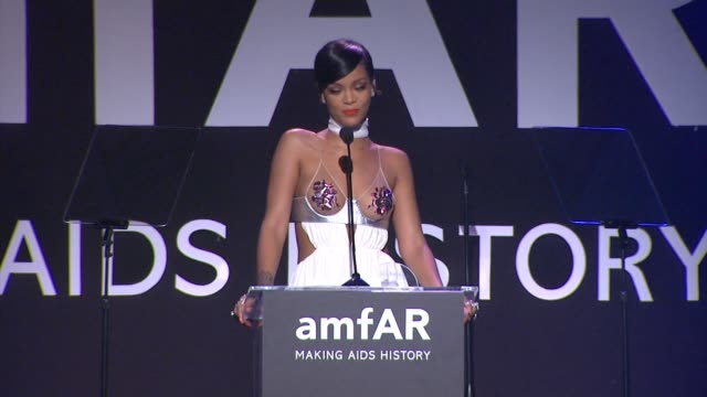 SPEECH Rihanna at amfAR Inspiration Los Angeles 2014 in Los Angeles CA