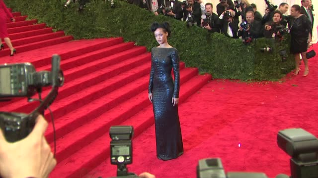 rihanna at schiaparelli and prada impossible conversations costume institute gala at metropolitan museum of art on may 07 2012 in new york new york - 2012 stock videos & royalty-free footage