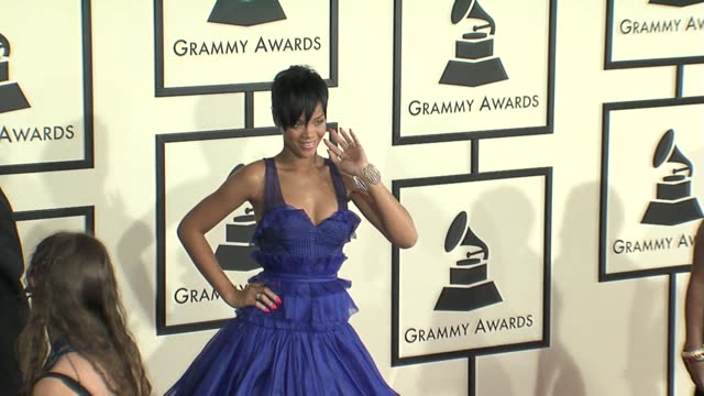 rihanna at the 50th annual grammy awards at los angeles california - 2008 stock videos & royalty-free footage