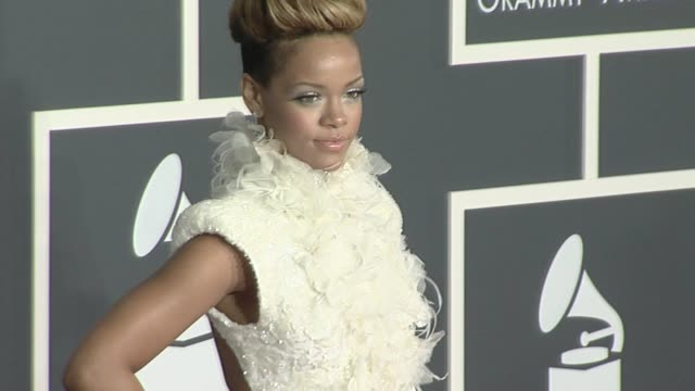 rihanna at the 52nd annual grammy awards arrivals at los angeles ca - grammy awards stock videos & royalty-free footage