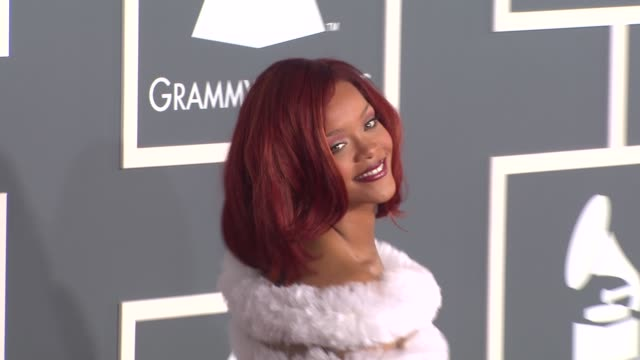 rihanna at the 53rd grammy awards arrivals part 3 at los angeles ca - grammy awards stock videos & royalty-free footage