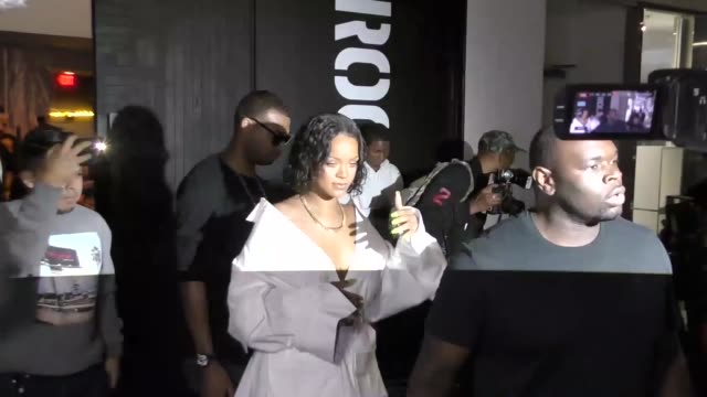 Rihanna leaves as he bodyguard assaults a paparazzi outside the Revolve Social Club in West Hollywood in Celebrity Sightings in Los Angeles