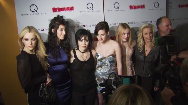 Riley Keough Floria Sigismondi Joan Jett Kristen Stewart Dakota Fanning and Cherie Currie at the 'The Runaways' New York Premiere at New York NY