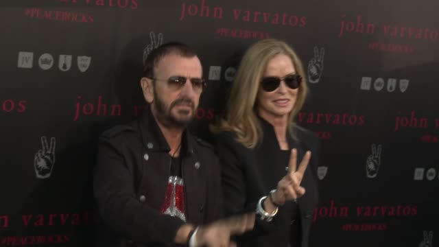 ringo starr and barbara bach at john varvatos celebrates international day of peace with a special performance by ringo starr and an all starr band... - ringo starr stock videos & royalty-free footage