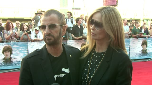 ringo starr and barbara bach at the george harrison: living in the material world uk premiere at london england. - ringo starr stock videos & royalty-free footage