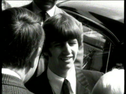 ringo starr of the beatles outside entrance to hospital after visiting his newly born son zak starkey ringo interviewed ringo starr becomes a father... - ringo starr stock videos and b-roll footage