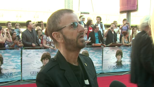 ringo starr on george harrison and the film at the george harrison: living in the material world uk premiere at london england. - ringo starr stock videos & royalty-free footage