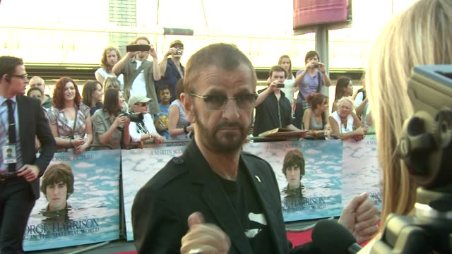 ringo starr on what george harrison did for music at the george harrison: living in the material world uk premiere at london england. - ringo starr stock videos & royalty-free footage