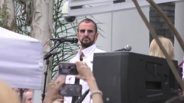 Ringo Starr speaks at the 11th Annual Peace Love Birthday Worldwide Celebration at Capitol Records in Hollywood in Celebrity Sightings in Los Angeles