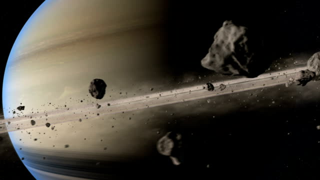 rings and moons of saturn - solar system stock videos & royalty-free footage