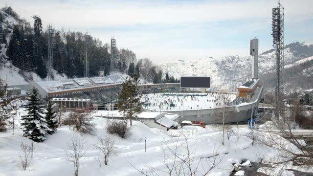 rink in kazakhstan - ice rink stock videos & royalty-free footage