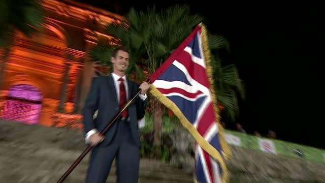Andy Murray chosen as Team GB flag bearer BRAZIL Rio de Janeiro Parque Lago PHOTOGRAPHY** Various of Andy Murray holding Union Jack flag as standing...