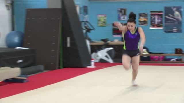 British gymnast Claudia Fragapane Claudia Fragapane performing tumbles in gym Claudia Fragapane interview SOT