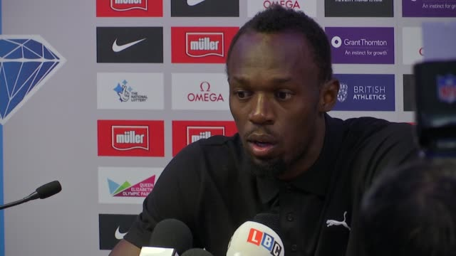 vídeos de stock, filmes e b-roll de cas upholds ban on russian athletes *** warning usain bolt press conference sot i'm excited to go looking forward to going there and doing my best - rio russian