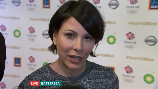 Great Britain Olympic stars attend ball in Battersea ENGLAND London Battersea INT Reporter to camera SOT Dina AsherSmith LIVE interview SOT