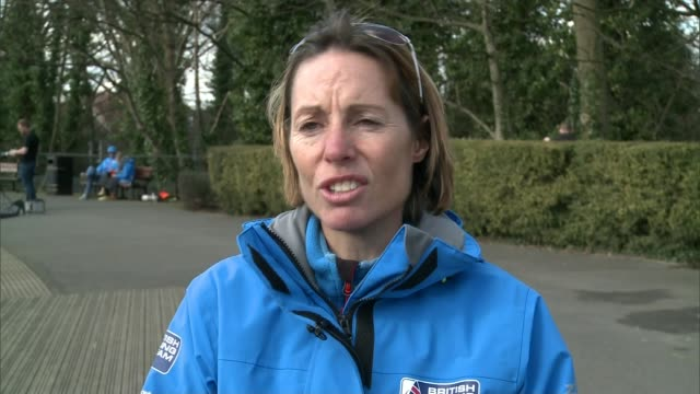 british team concerns about pollution / team member has cancer england london alexandra palace helena lucas interview sot bryony shaw posing for... - sailing team stock videos & royalty-free footage