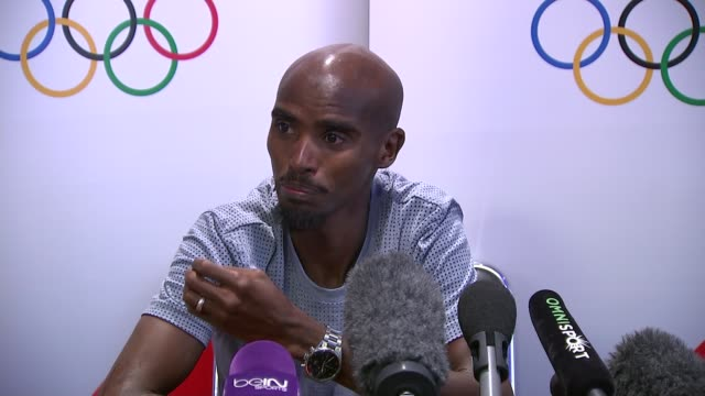 russia escapes blanket ban over its state-sponsored doping scandal; england: london: int mo farah press conference sot - re doping scandal - press conference点の映像素材/bロール