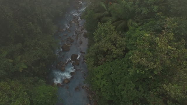 AERIAL Rio Celeste fließt durch den nebligen Regenwald