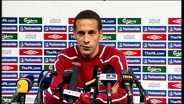 rio ferdinand press conference in run up to belarus v england match; belarus: minsk: int rio ferdinand press conference sot - on the forthcoming... - fifa world cup 2010 stock videos & royalty-free footage