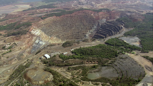 aerial ws zi rio tinto mine / rio tinto, andalusia, spain - huelva province stock videos & royalty-free footage
