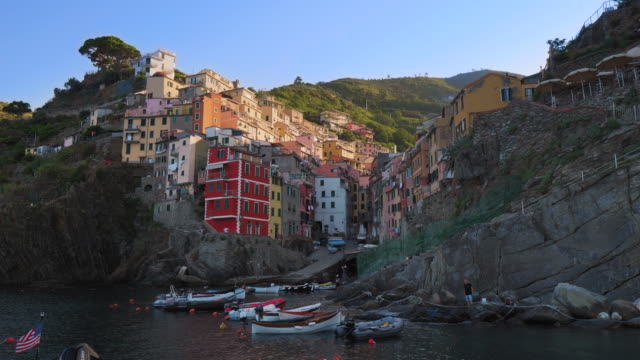 riomaggiore waterfront and harbor on an early morning - mediterranean culture stock videos & royalty-free footage