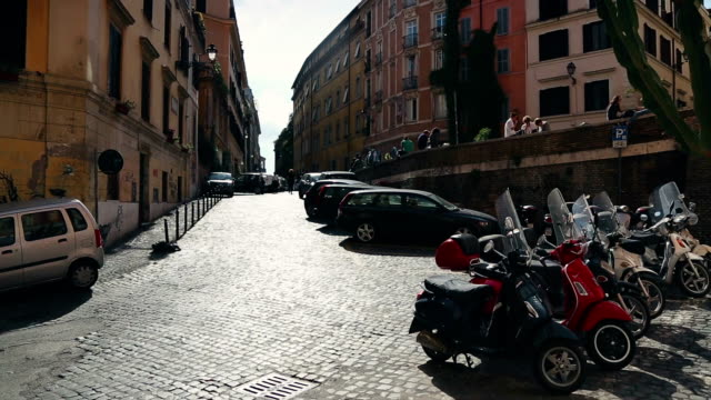 rione monti in the center of rome - scooter stock videos & royalty-free footage
