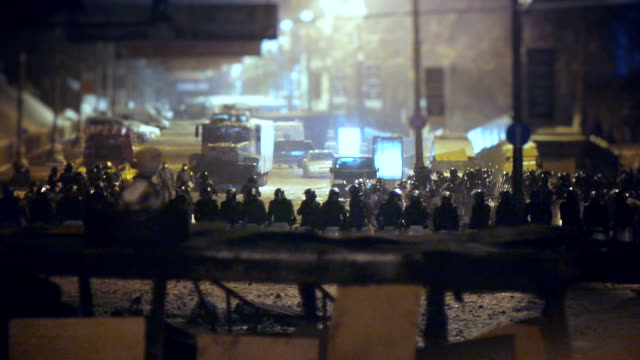 riot police at demonstration in kev - january 2014 - 2014 stock videos and b-roll footage