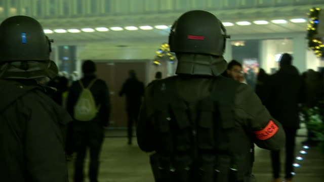 riot police on the streets of paris after antigovernment protests - france stock videos & royalty-free footage
