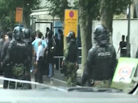 riot police patrolling street in tehran following results of presidential elections 14 june 2009 - 2009 stock videos & royalty-free footage