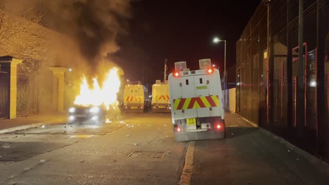 rioters gathered in the tigers bay area attacked police with missiles and petrol bombs in belfast on april 09, 2021.. a car was burned as police... - belfast stock videos & royalty-free footage
