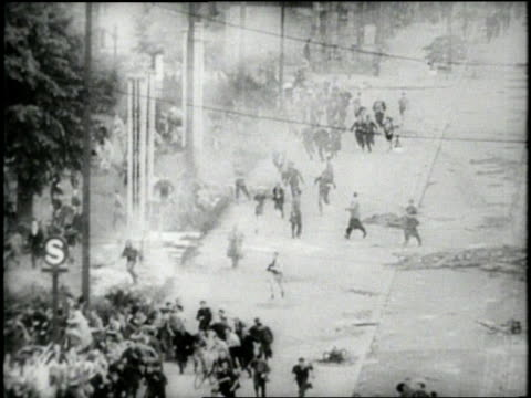 rioters run in panic in east berlin germany - 1953 stock videos & royalty-free footage