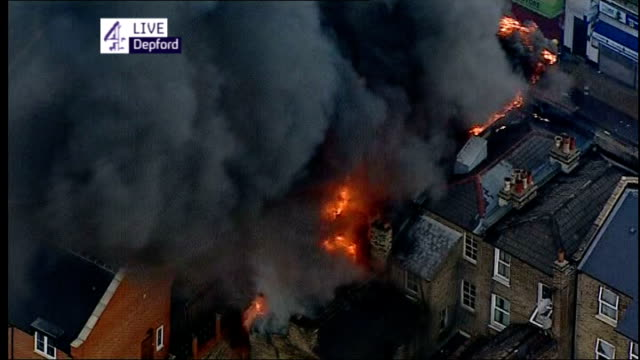 Riots in London for third night running ENGLAND London Deptford VIEW / AERIAL of residential house on fire