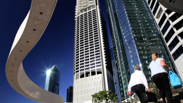 riparian plaza, brisbane business district, queensland, australia, southern hemisphere - southern hemisphere stock videos & royalty-free footage