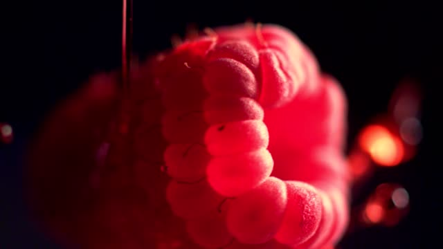 ripe raspberries mixing with jelly - spray stock videos & royalty-free footage
