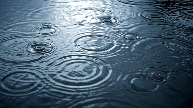 Rippled rain drops in super slow motion